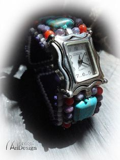 Items similar to Handmade embroided wristwatch with turquoise stones 19 cm leather back on Etsy Square Watch, Turquoise Stone, Stones, Trending Outfits, Unique Jewelry, Handmade Gifts, Leather, Accessories, Etsy