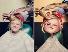Artist Transforms Finds Photos People into Illustrated Characters