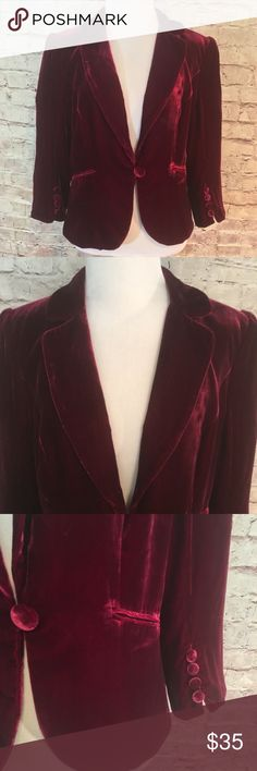"Ann Taylor Loft Burgundy  Crushed Velvet Blazer Burgundy colored velvet fully lined blazer with one velvet covered button and front pockets. Rayon/Silk with 100% Acetate lining. Size 10. Bust 37"". Length 22"".  EUC. LOFT Jackets & Coats Blazers"