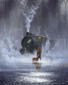 Families home asleep at night, and yet the train had to go on. As a child I would hear my father coming in the distance. The train whistle would blow 3 times meaning I love you., and the second time two times meant good night. Rainy Night, Rainy Days, Motor A Vapor, Train Art, Old Trains, Vintage Trains, Singing In The Rain, Train Tracks, Train Station