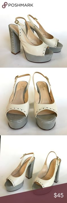 Kate Spade Gray Cream Platform Slingback Heels 6.5 Open toe platform patent sling back heels with block heels. Used condition: visible signs of wear and scuffs. kate spade Shoes Platforms