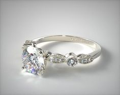 I love the vintage/antique styles!!! 14K White Gold Antique Bezel and Pave Set Engagement Ring