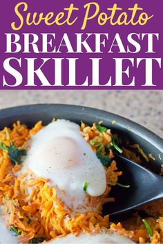 Make this one pot Sweet Potato Breakfast Skillet for a simple & fresh healthy meal to brighten up your morning with protein and veggies! High Protein Vegetarian Recipes, Healthy Vegetable Recipes, Healthy Breakfast Recipes, Easy Healthy Recipes, Easy Dinner Recipes, Health Recipes, Healthy Food, Breakfast Skillet, Sweet Potato Breakfast