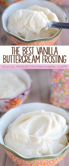 The Best Vanilla Buttercream Frosting The best and easiest vanilla buttercream frosting, this is my go-to for cookies and cakes. Light and creamy, it is fluffy and deliciously perfect. - The Best Vanilla Buttercream Frosting {For Cookies + Cakes} Food Cakes, Cupcake Cakes, Just Desserts, Delicious Desserts, Health Desserts, Cookie Recipes, Dessert Recipes, Cupcake Recipes, Weight Watcher Desserts
