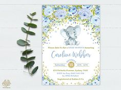 DIGITAL FILE - PRINT IT YOURSELF * NO PHYSICAL ITEM WILL BE SHIPPED! * PERSONALIZED BABY SHOWER INVITATION Featuring a cute illustration of baby elephant, watercolor blue flowers and faux gold confetti ★★WHAT YOU WILL RECEIVE★★ 1 personalized invitation as high resolution &