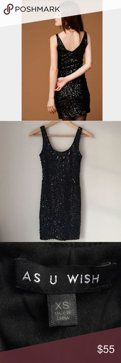 🎉12/26 HP🎉As You Wish Black Sequin Tank Dress Stunning black sequin tank dress by As You Wish. 93% polyester 7% spandex. Fully lined and 100% polyester. Size extra small. Like New. As You Wish Dresses Mini