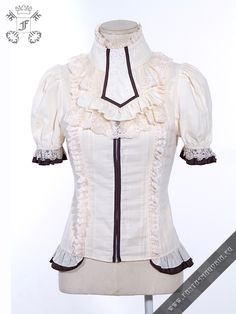 Thya blouse - Shortsleeve Steampunk / Victorian Gothic style shirt. Jabot is included and can be worn separately. | Fantasmagoria.eu - Gothic Fashion boutique