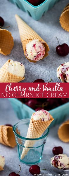 This smooth and creamy Cherry and Vanilla No Churn Ice Cream is ready to freeze in minutes and tastes just as good as the churned stuff!
