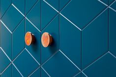 Gorgeous teal colour superfront doors with copper handles. designed as a great Ikea hack