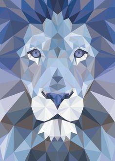 Geometric Origami, Geometric Drawing, Geometric Art, Paint Swatch Art, Lion Wallpaper, Polygon Art, Bright Art, Lion Art, Polychromos