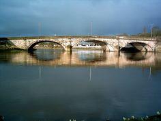The river Ribble and the London road bridge. Preston, Lancashire. UK.