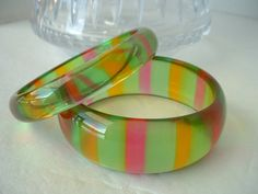 Vintage Transparent Lucite Bracelet SET PAIR Green Pink by tea500, $45.00