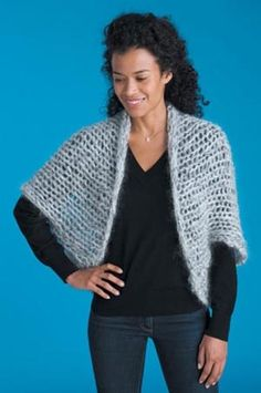 Free knitting pattern for Cocoon Shrug easy quick knit using three strands of bulky yarn knit together on size 50 needles. Knit rectangle and fold and seam.