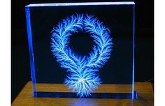 Fractal-like Lichtenberg figures frozen in acrylic blocks by Bert Hickman.