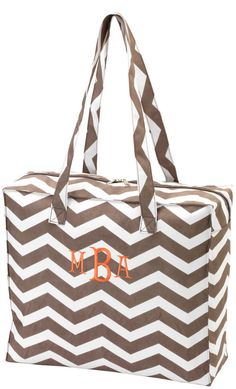 Monogrammed  Taupe Chevron Tote Bag Embroidered Personalized Zipper Zig Zag