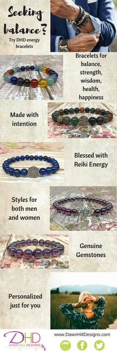 Beautiful bracelets for men and women! Blessed and infused with Reiki healing energy. Comes with drawstring pouch and crystal healing card with the benefits of the stones used in the bracelet. Every bracelet comes gift boxed as well! Ready to give or keep! Handmade in the USA by Dawn Hill Designs #crystalhealing #gift #reiki #handmade