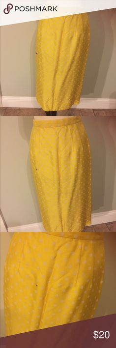 "Vintage Yellow Polka Dot Skirt Super cute vintage Pencil style skirt.Whote & yellow polka dots.Great vintage condition.Measures:Waist 25"",hips 36"" & length 26 1/2"" Arbe vintage Skirts Pencil"
