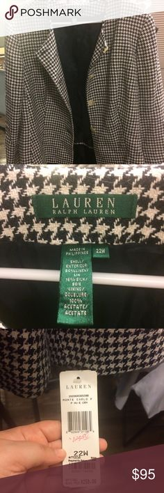NWT Ralph Lauren Houndstooth Jacket 22W Beautiful Ralph Lauren navy and cream houndstooth jacket. Looks great buttoned and unbuttoned! NWT, never worn! Lauren Ralph Lauren Jackets & Coats Blazers