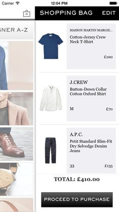 Mr Porter - shopping cart sliding out from right