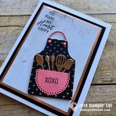 """JANUARY PAPER PUMPKIN KIT On today's live online class we'll be making this fun """"his and hers"""" baker/grill card set using the January Stampin Up """"Heartfelt Love Notes"""" Paper Pumpkin Kit and the Apron Builder dies. I added some Wood Textures Designer Paper, Copper/Silve"""