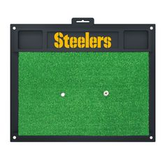 "Pittsburgh Steelers Wordmark Golf Hitting Mat 20 x 17 - Show off your team pride with Sports Licensing Solutions' golf hitting mats. Removable rubber tee that accepts wooden tee. Anchor mat down in all four corners with tees to keep mat in place. Saves your lawn from divots. Great for left and right handed golfers. FANMATS Series: GOLFHITTINGTeam Series: NFL - Pittsburgh SteelersProduct Dimensions: 20"" x 17""Shipping Dimensions: 17""x20""x1"". Gifts > Licensed Gifts > Nfl > Pittsburgh Steelers…"
