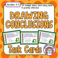 Drawing Conclusions (inference) Task Cards. Your kids will love these challenging paragraphs. The multiple choice format is perfect for test prep!