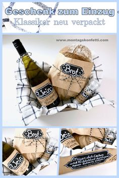 Brot, Salz und Wein – Klassisches Geschenk zum Einzug neu verpackt Gift for collection – The classic repackaged. Bread, salt and wine for a new home. Baby's sleep problems:Baby boomer nails are theVery classic and chic Diy Cadeau Noel, Ideias Diy, Wine Gifts, Homemade Gifts, Christmas Diy, Diy And Crafts, Rock Crafts, Salt, New Homes