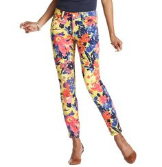 Petite Curvy Skinny Ankle Jeans in Floral Variety Print with 25