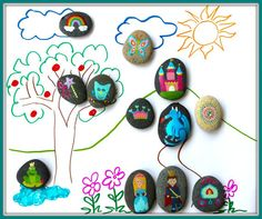 Love these hand painted fairytale story stones. Great for storytelling and drawing pictures.