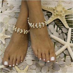 8019fc73dcc ARIEL - pearl wedding ankle bracelet - Catherine Cole Studio Anklet  Bracelet