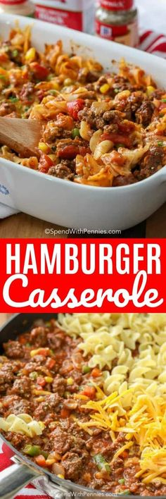 Hamburger Casserole is an honest to goodness quick and easy meal! Using quality ingredients like lean ground beef pasta sauce tomatoes and of course my favorite spices you know the end result is going to be over the top tasty! Casserole Dishes, Casserole Recipes, Meat Recipes, Dinner Recipes, Cooking Recipes, Healthy Recipes, Hamburger Recipes Easy, Breakfast Casserole, Healthy Meals