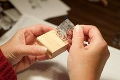 DIY cling stamps from wood stamps- I need to do this with all my wood stamps so everything is easier to store....