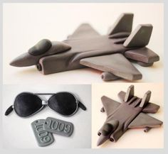 Fondant Jet Plane Cake Toppers Set - Fondant Aviator Sunglasses - Fondant Dog Tags - Fondant Airplane Cake Topper Set by Les Pop Sweets on Gourmly
