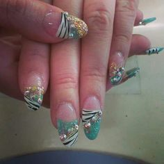 Zebra print with turquoise gold and pink