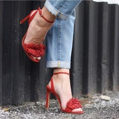 Honey Fringe Sandal Red :: sold out online! New in box! Coveted Honey Fringe Sandal from Banana Republic in Red. Selling for $129 on BR's site, all sizes sold out except size 6. Selling brand new pair size 8 (true to size). Make an offer✨ Banana Republic Shoes Heels