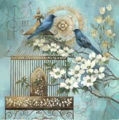 Blue Birds and Dogwood 1