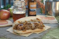 Beer braised brats with caramelized onion, apple and Dijon #recipe