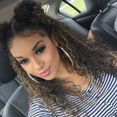 Double High Devil Horn Bun Curly Hair Hairstyle Brown Blonde Highlights Flawless Makeup Kathxlynnn