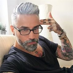 Men's Toupee inch Human Hair Thin Skin Hairpiece Hair Replacement System Monofilament Net Base for Men Mix silver hair) Short Men Haircut, Haircuts For Men, Men's Haircuts, Cabelo Do Brad Pitt, Hair And Beard Styles, Short Hair Styles, Professional Hair Dye, Professional Hair Products, Bart Tattoo