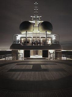Perfect lighting on a mega yacht. Boat Detailing. Floating helipad on mega yacht.