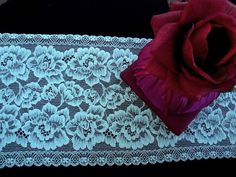 "7 3/4"" (19.5 cm) Wide Pastel Mint Green Floral Stretch Lace Roses Pattern for Lingerie Sewing Table Runner Decor FJT3"