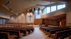 First Evangelical Presbyterian, Kent. A 900 seat sanctuary addition. Church Interior Design, Church Stage Design, Modern Church, City Farm, Religious Architecture, Church Building, Altars, Motel, Funeral
