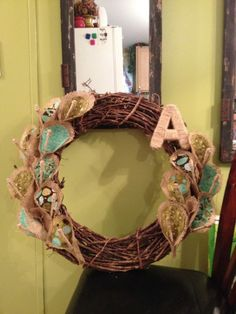 Burlap/Fabric Peace Lilly Initial wreath