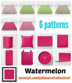 #watermelon #spring #summer #homedecor #duvetcovers #showercurtain #pillow in different #homedecor products. Detail: society6.com/julianarw/collection/pattern