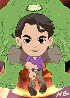 Here's Bruce Banner and his big, green alter-ego, the Incredible Hulk (aka: the other guy).  Avengers Bruce Banner/Hulk Art Card by *kevinbolk on deviantART