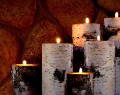 Real Birch Log Tealight Candle Holder Set  3 Great by BINESHIIS, $29.99