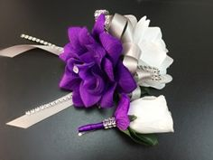 Wrist Corsage and Boutonniere White purple with Gray Ribbon