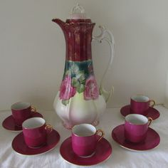 Antique Rudolf Wachter Bavaria Foral Chocolate Pot & 5 Demitasse Cups/Saucers - Bavarian Hand Painted Porcelain Chocolate Pot Set, rose design on pot, burgundy cups and saucers. Circa 1900-1940. Early 20th Century European Porcelain.