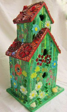 Birds' Love Nest Mosaic Birdhouse by waschbear on Etsy