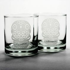 Etched heavy 10oz lowball glasses - - dishwasher-safe, microwave-safe - sandblasted etch lasts a lifetime Etched sugar skull lowball glasses make great gifts for Day of the Dead parties, fun weddings,
